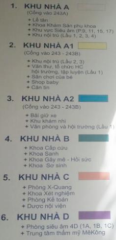 sơ đồ các khoa bệnh viện phụ sản MêKông