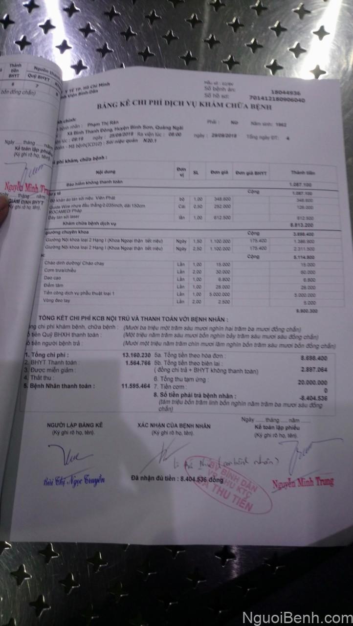 Hóa đơn tổng kết chi phí
